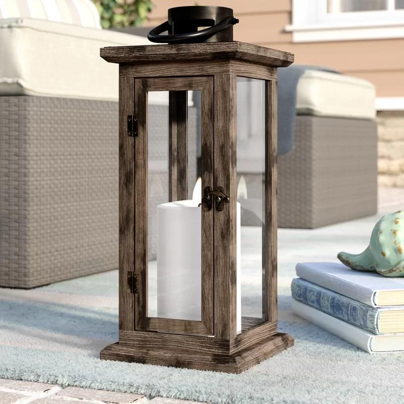 Tall Wood and Glass Lantern