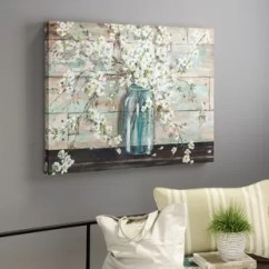Paintings For Living Room White And Silver Ideas Coastal Wall Art You Ll Love Wayfair Blossoms In Mason Jar Painting Print On Wrapped Canvas