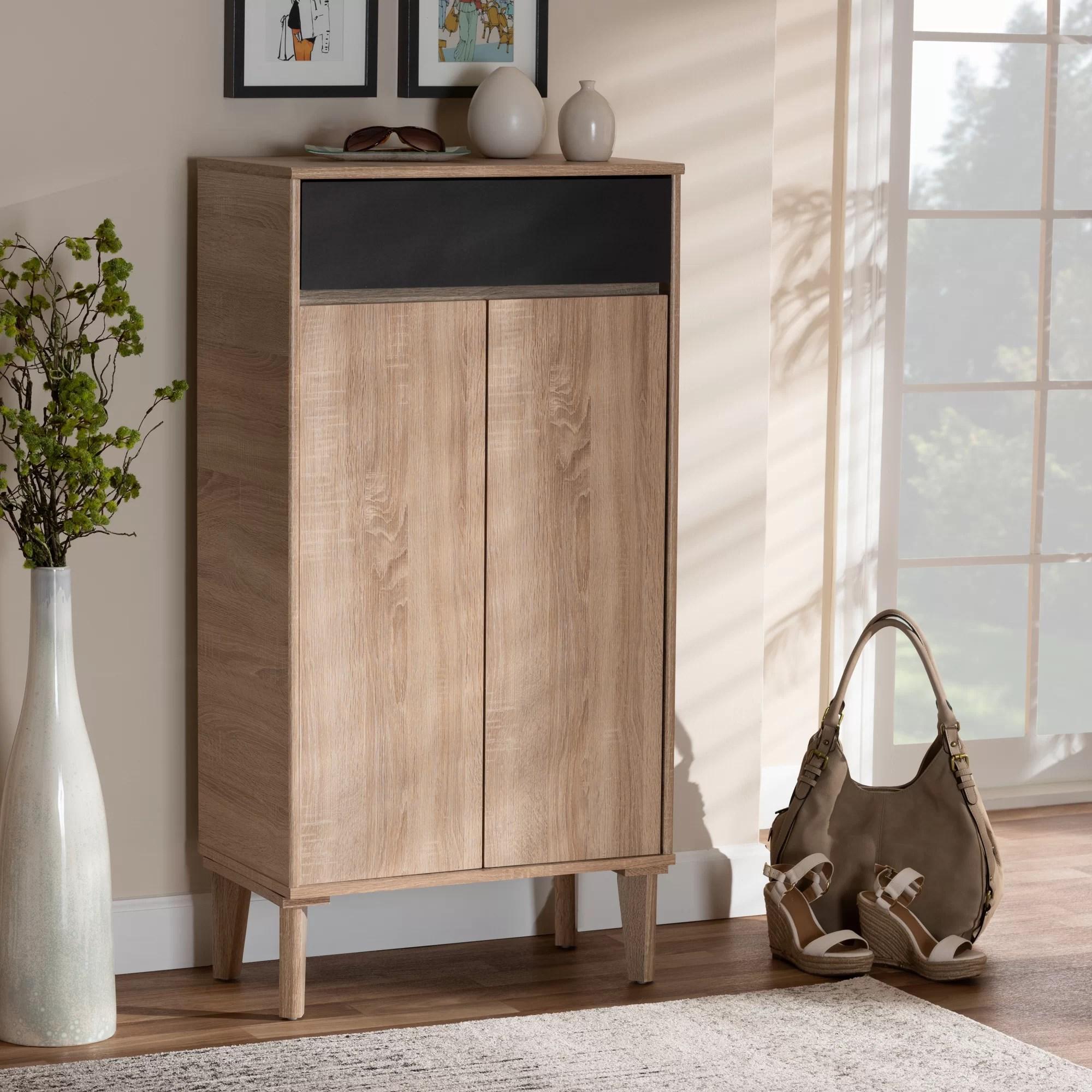 Union Rustic 2 Door Wood Entryway 10 Pair Shoe Storage Cabinet Reviews