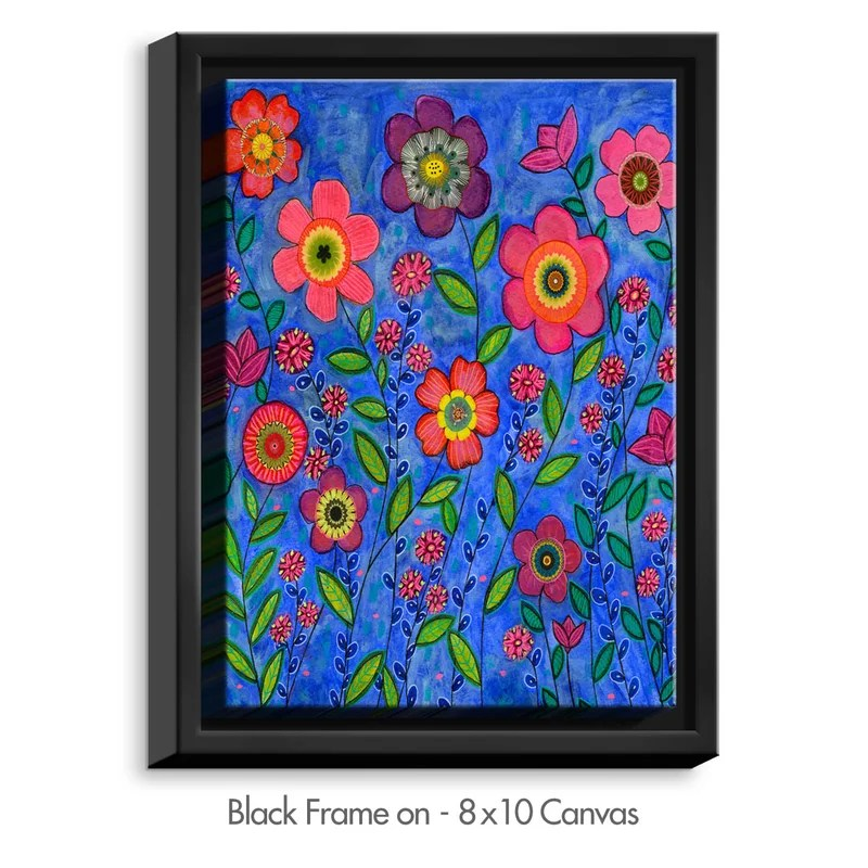Joy by Sascalia Painting Print on Wrapped Framed Canvas Size: 15.75 H x 12.75 W x 1.75 D Frame Color: Black