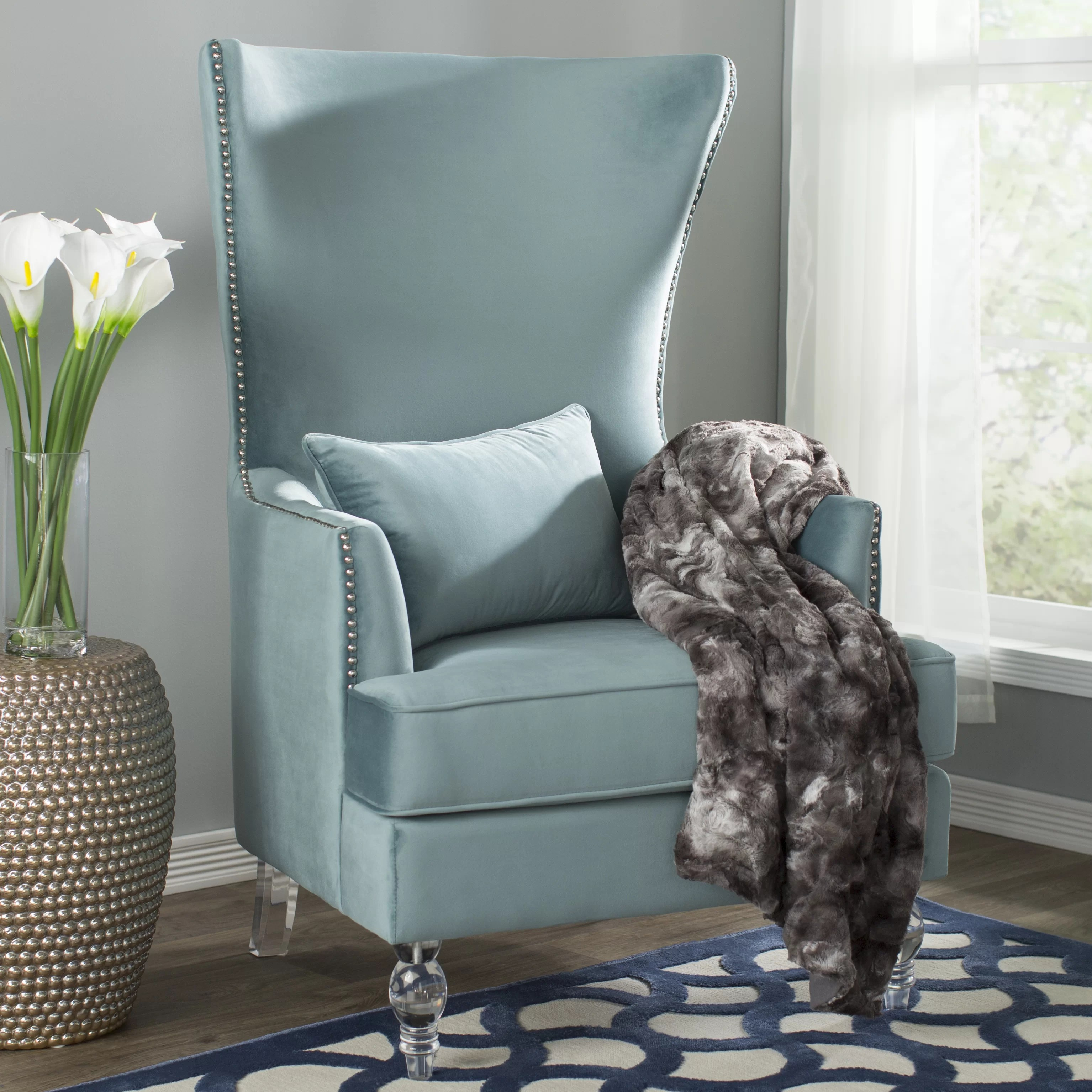 Teal Wingback Chair Jacinto Wingback Chair