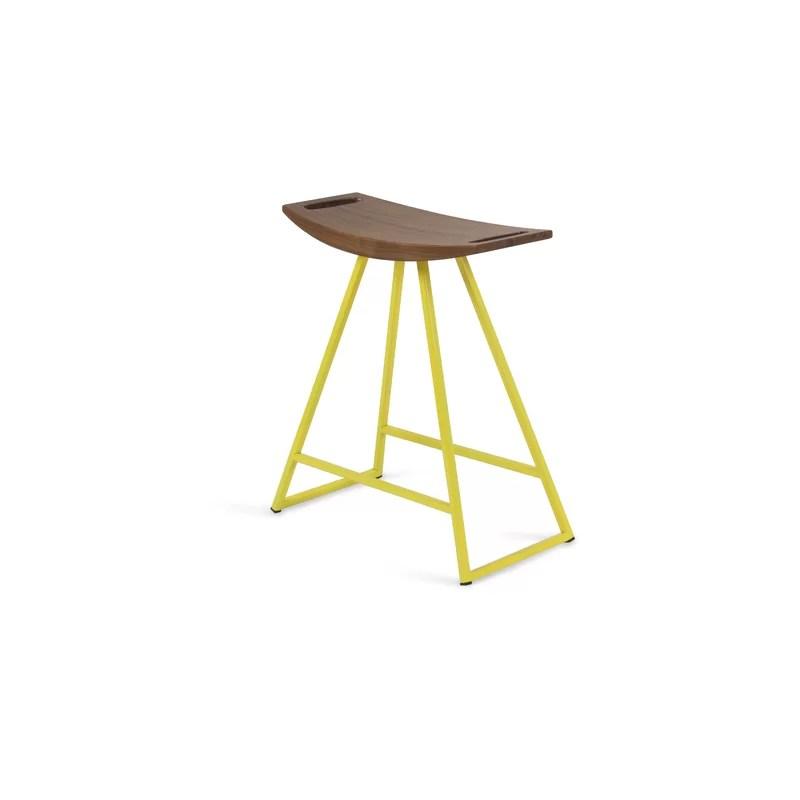 Roberts 18 Bar Stool Base Color: Yellow Upholstery: Walnut
