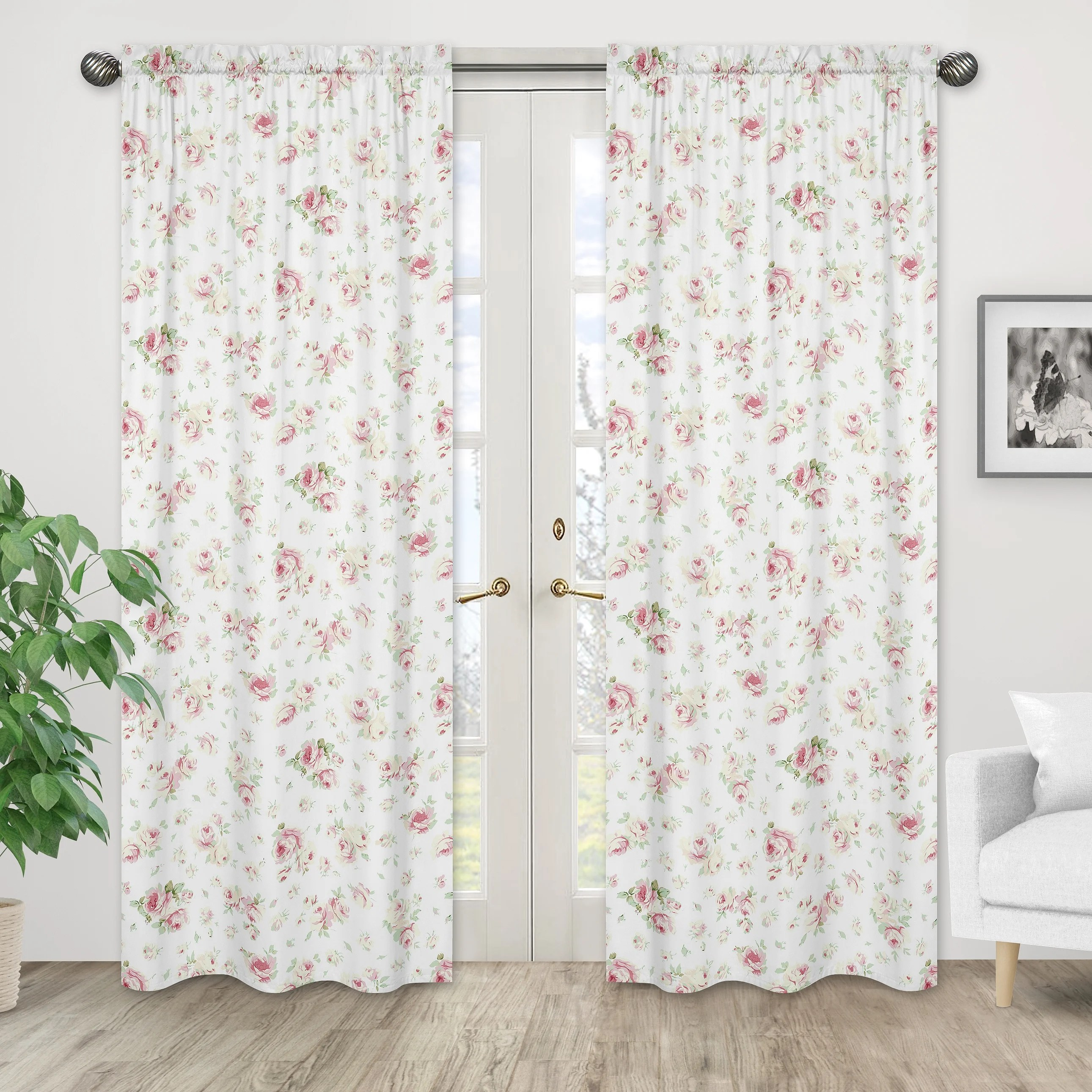 riley s roses nature floral semi sheer rod pocket curtain panels