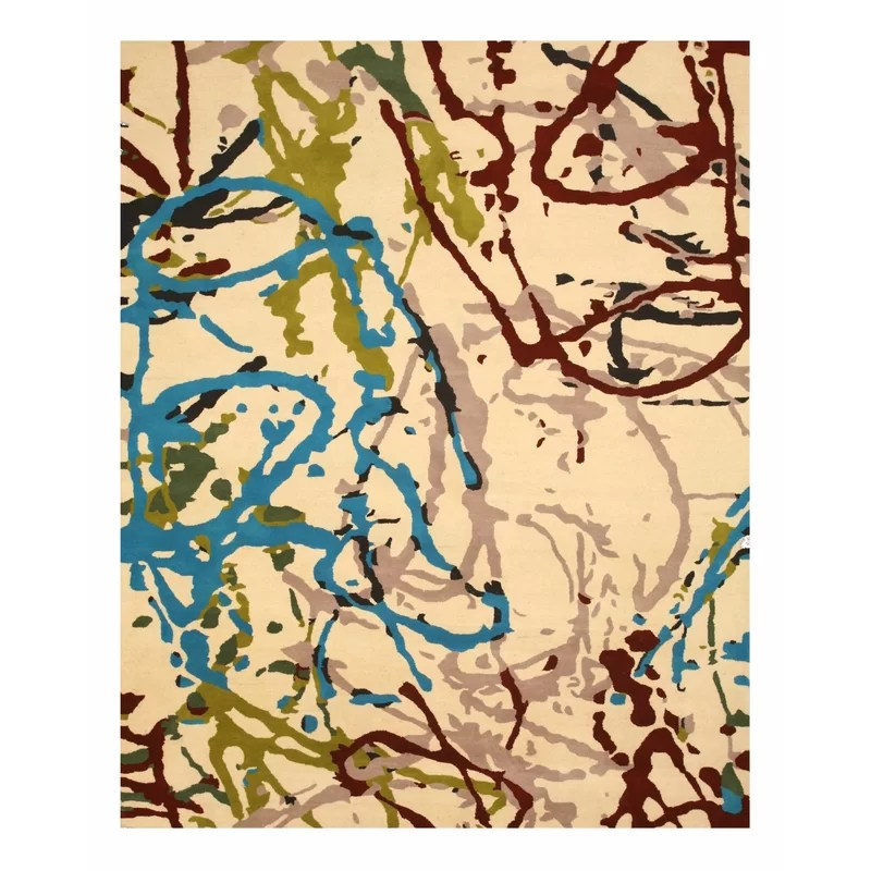 Hand Tufted Ivory Area Rug Rug Size: 5 x 8