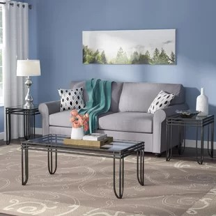 3 piece living room table set black and gray glass coffee sets you ll love wayfair myra
