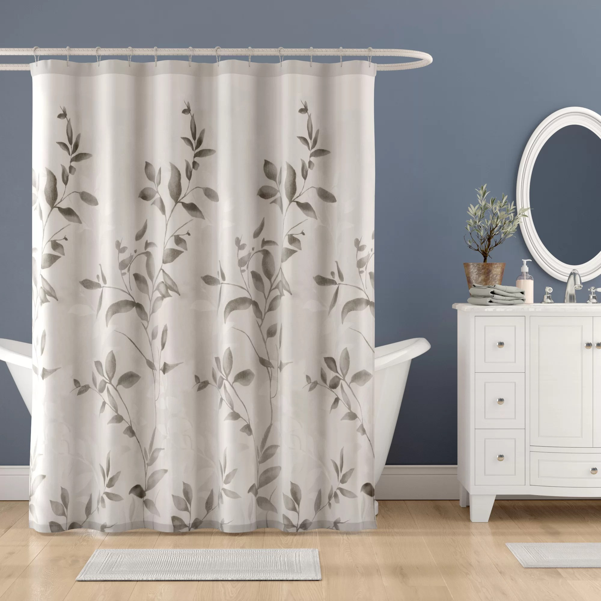 trent floral printed single shower curtain