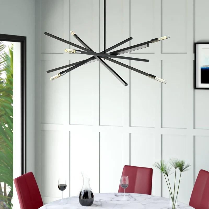 archer 6 light sputnik modern linear chandelier