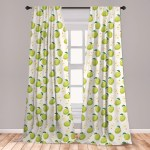 East Urban Home Ambesonne Apple Curtains Cartoon Style Green Fruits Stalks Core And Seeds Anatomy Of An Apple Window Treatments 2 Panel Set For Living Room Bedroom Decor 56 X 63 Brown