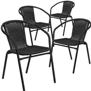 stackable metal patio chairs big beach chair modern outdoor dining allmodern quickview