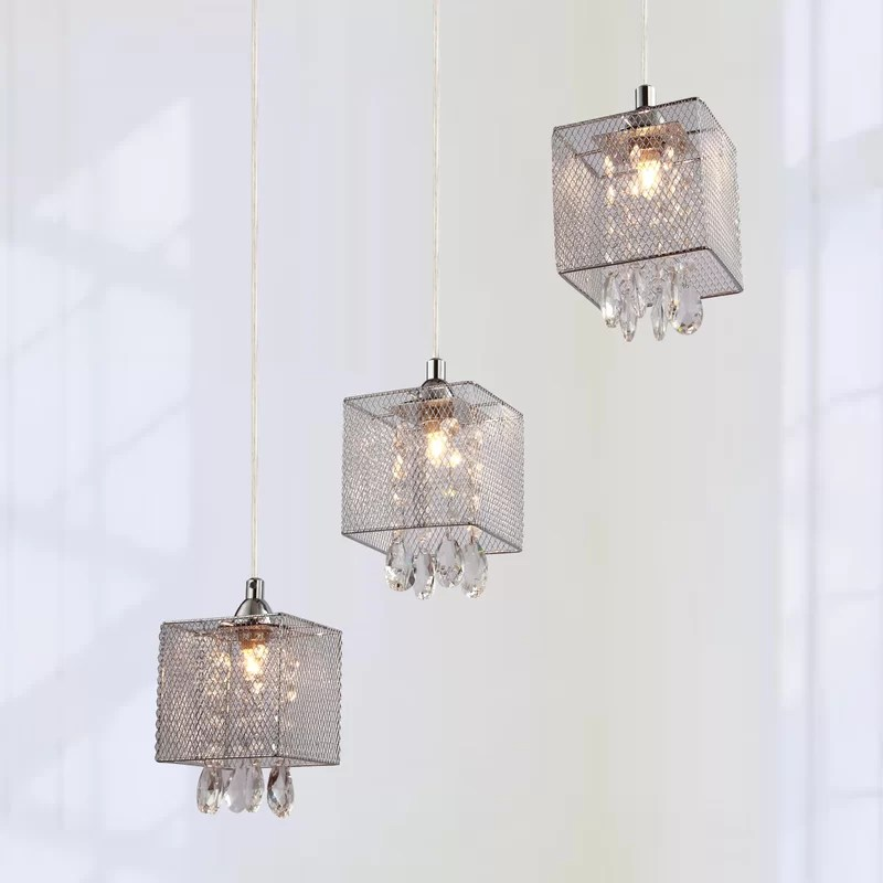partingt 3 light shaded square chandelier