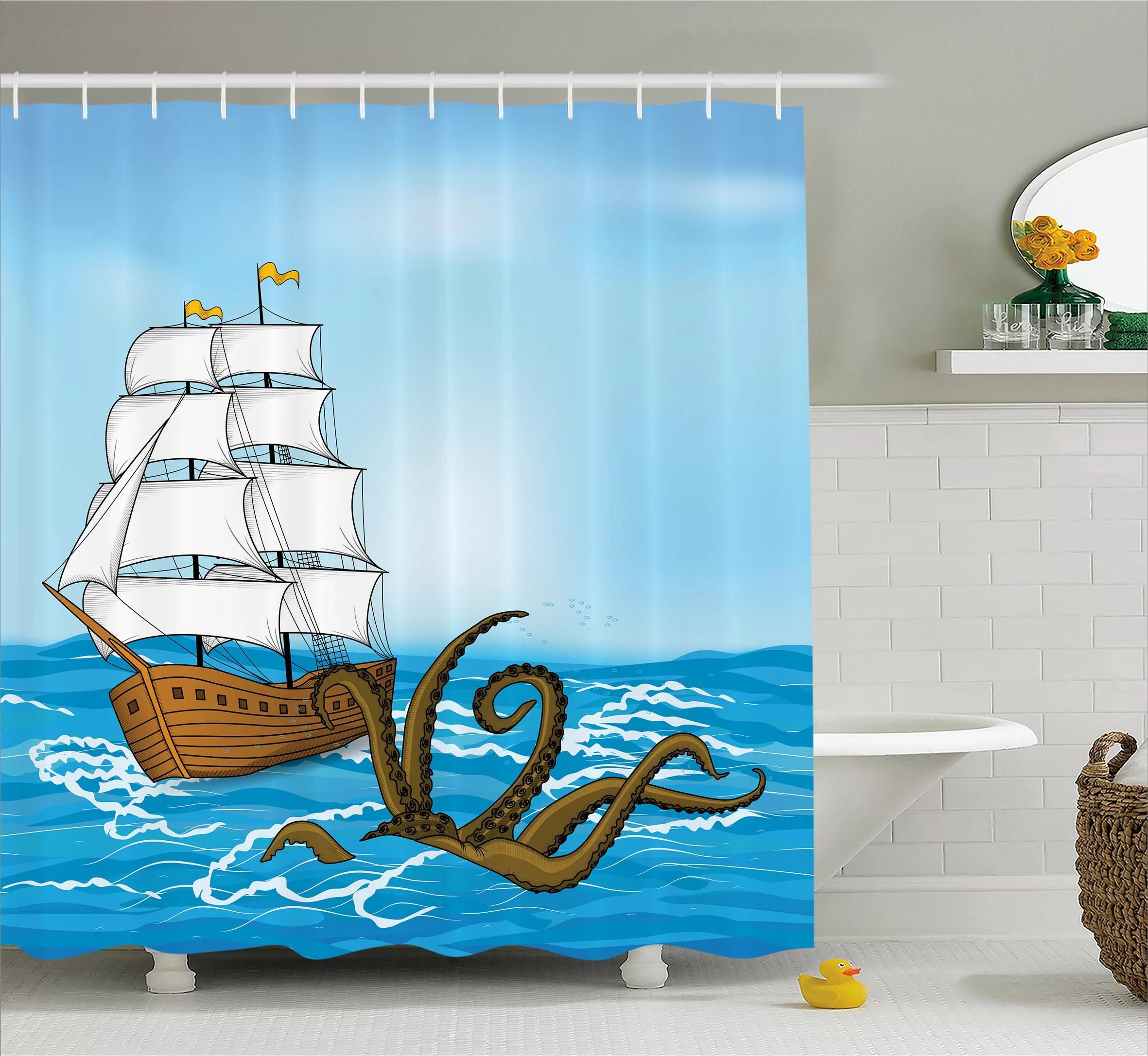 ocean ship in waves and kraken shower curtain hooks