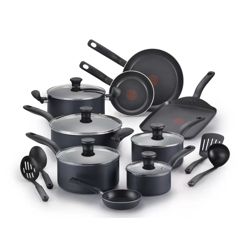 kitchen pan set aid pasta press t fal initiatives 18 piece non stick cookware reviews wayfair