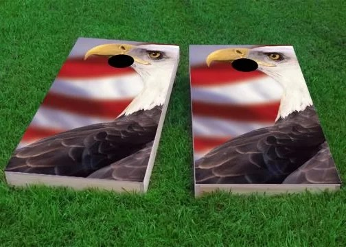 Patriotic Bald Eagle Cornhole Game Size: 48 H x 24 W Bag Fill: Whole Kernel Corn