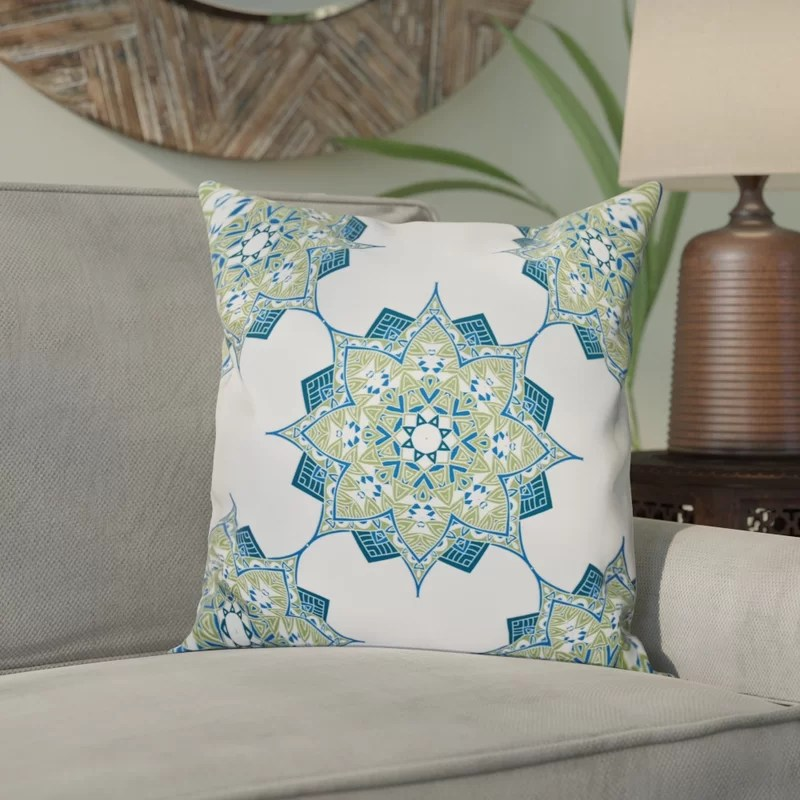 Meetinghouse Rhapsody Outdoor Throw Pillow Size: 18 H x 18 W Color: Green