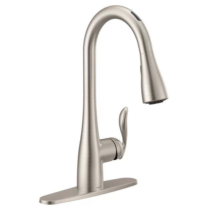 arbor smart touchless single handle kitchen faucet with wave power boost power clean duralock and reflex
