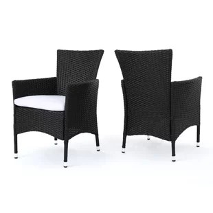 black patio chairs linen club chair slipcovers wicker dining you ll love wayfair carmack with cushion set of 2