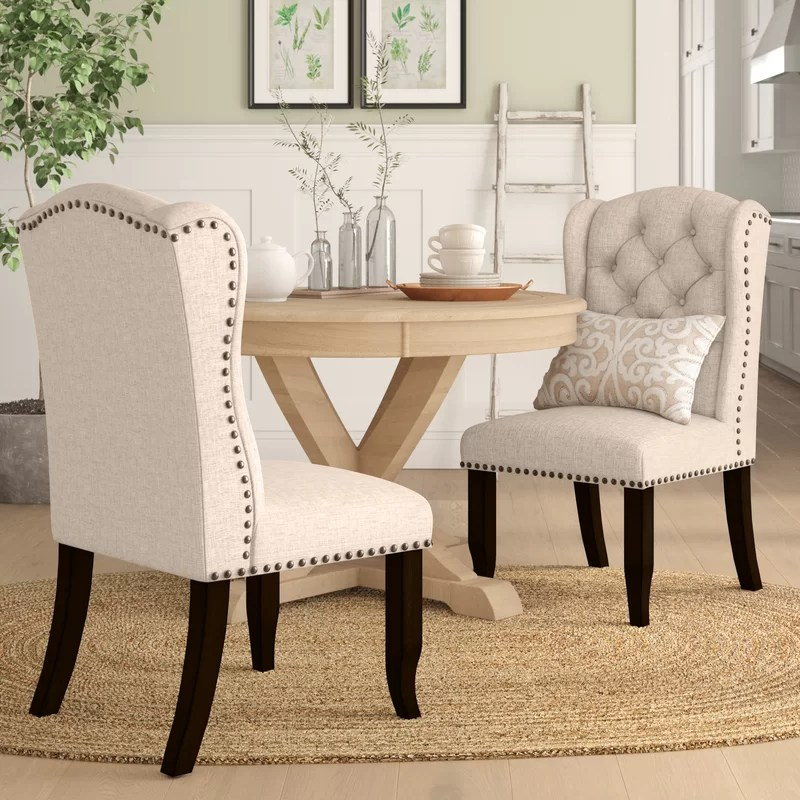 rehoboth tufted upholstered wingback side chair in beige