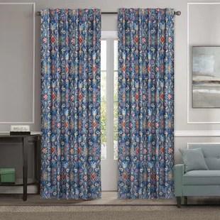 ligonier spanish tiles damask medallion pair of window curtains set of 2