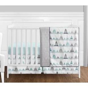 mountains 4 piece crib bedding set