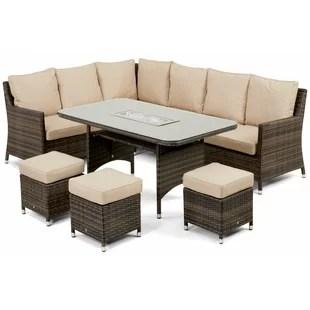 garden corner sofa with dining table custom made fabric singapore rattan set wayfair co uk venice 9 seater effect