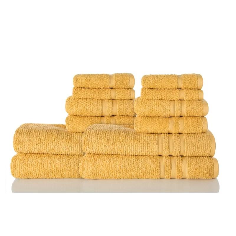 Zero Twist 12 Piece 100% Cotton Towel Set Color: White