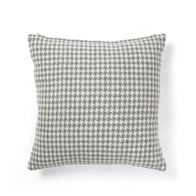 Felted Wool Blend Houndstooth Pillow Cover Color: Grey