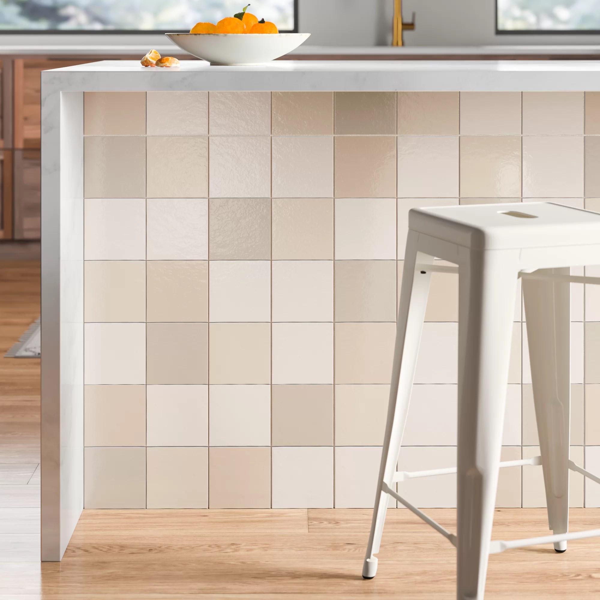 daniels 5 x 5 ceramic mosaic tile in creme