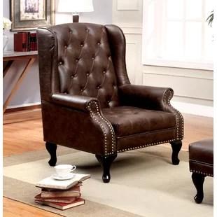 leather wingback chairs canada chair for standing desk solomon wayfair barnett