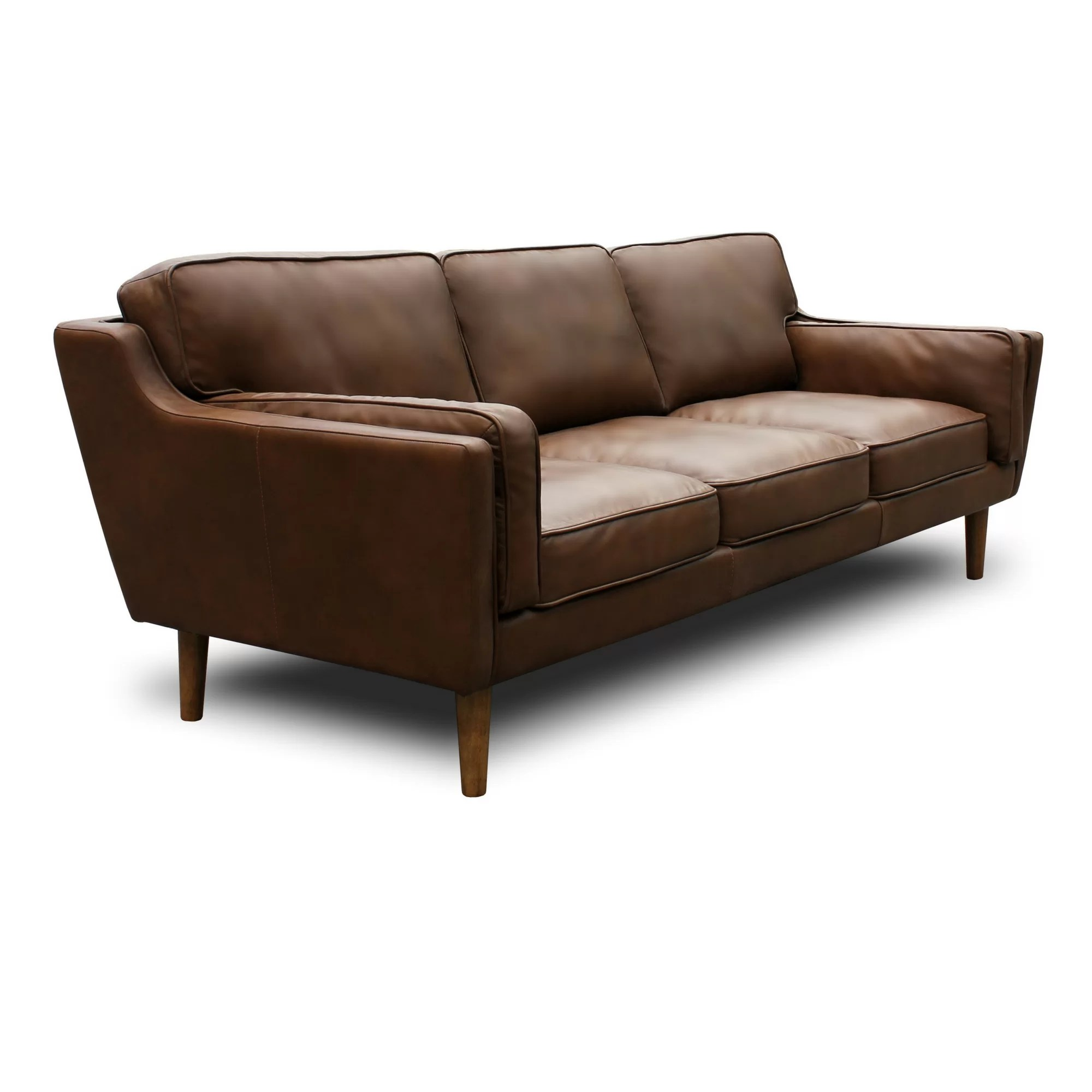 modern brown leather sofa natuzzi sleeper union rustic kaufman mid century reviews wayfair ca
