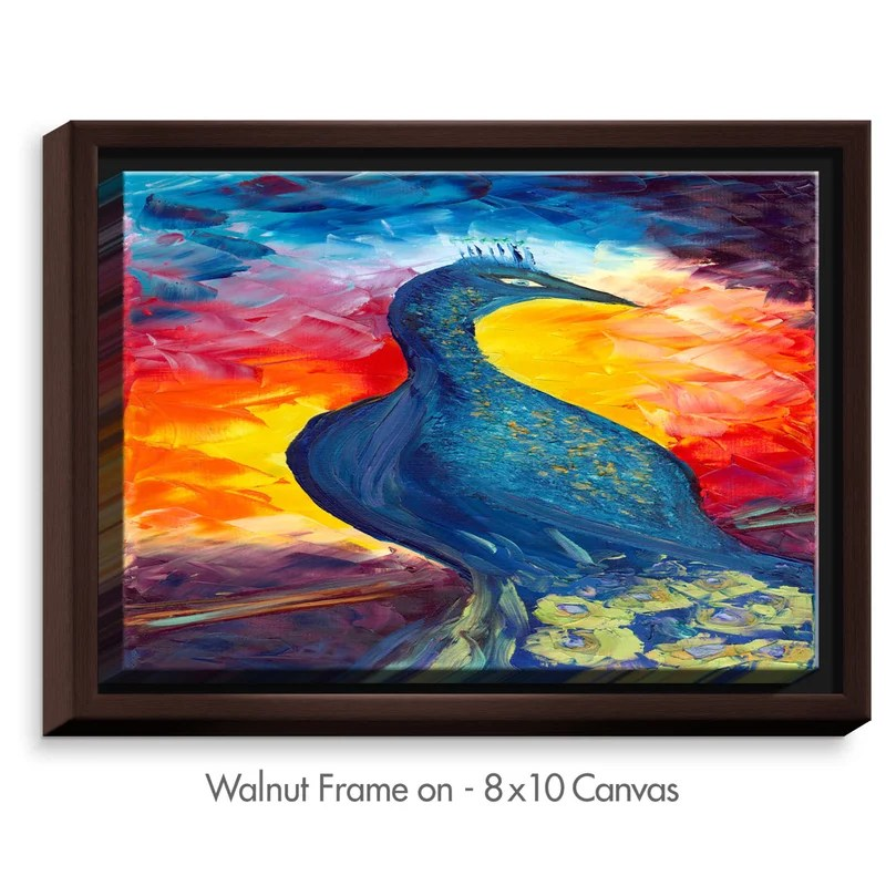 Peacock by Jessilyn Park Painting Print on Wrapped Framed Canvas Size: 12.75 H x 15.75 W x 1.75 D Frame Color: Walnut