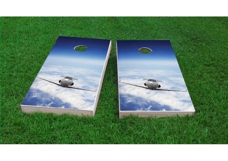 Private Jet Flying Above The Clouds Light Weight Cornhole Game Set Bag Fill: All Weather Plastic Resin
