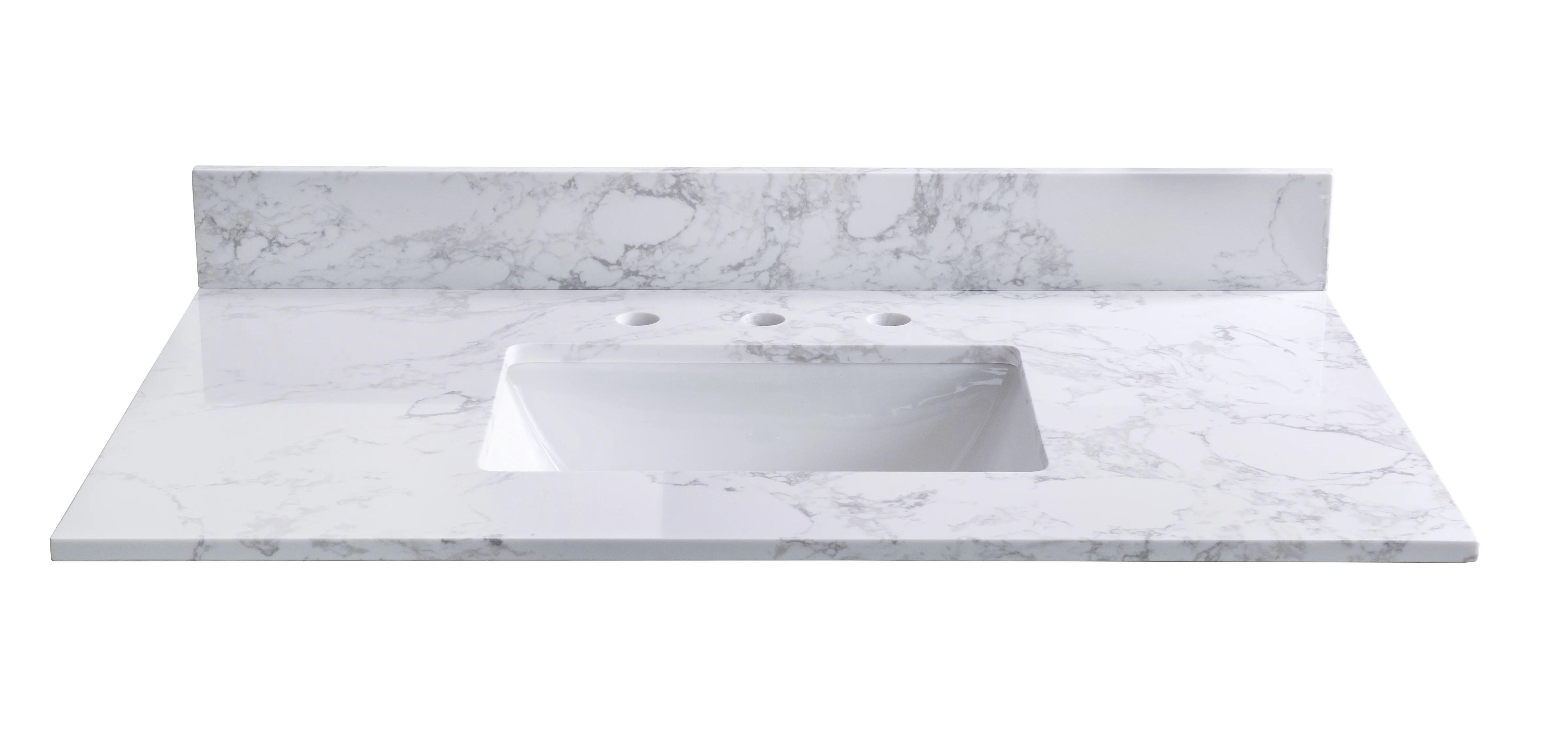jingzhong llc 43 single bathroom vanity top in white with sink wayfair