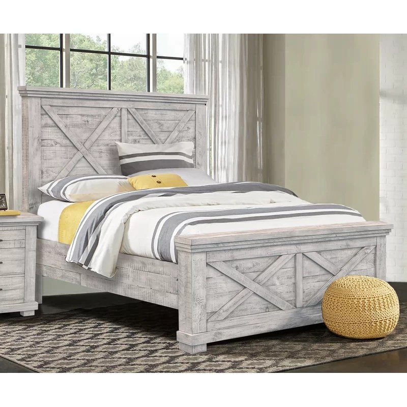 crossing barn solid wood low profile panel bed