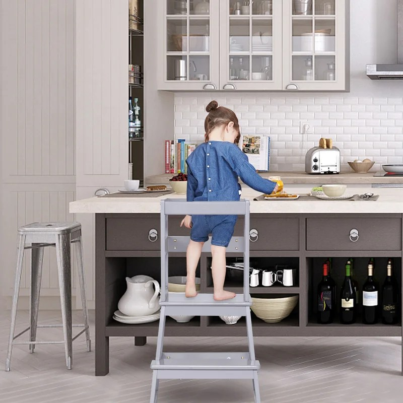 harriet bee kids kitchen step stool with safety rail solid wood construction toddler stool wooden toddler stepping stool for counter and bathroom