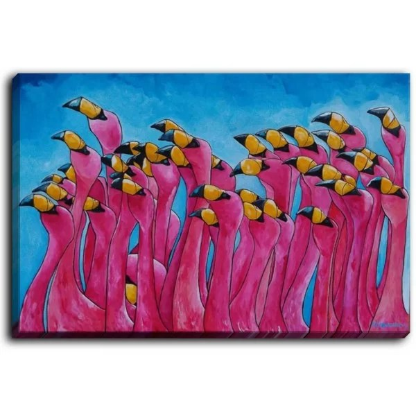 Peace Love and Flamingos by Patti Schermerhorn Framed Print on Canvas Size: 18 H x 24 W x 1.5 D