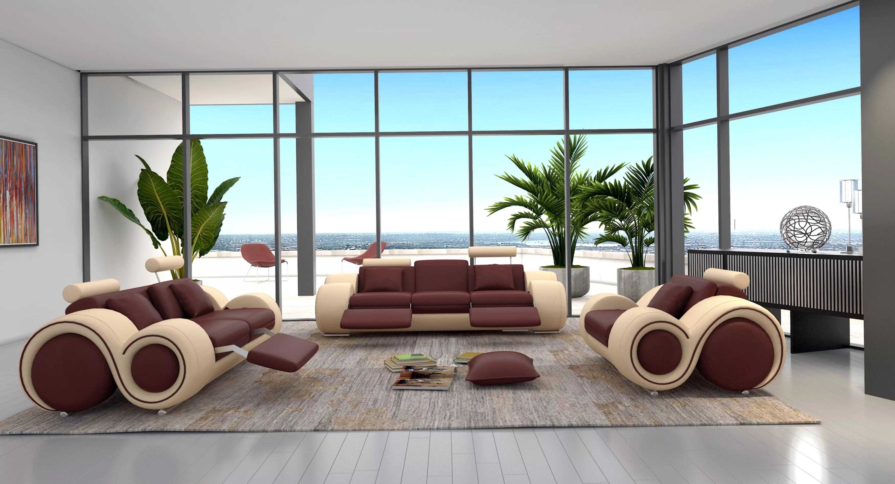 modern leather living room sets white oak floor orren ellis behr 3 piece set reviews wayfair ca