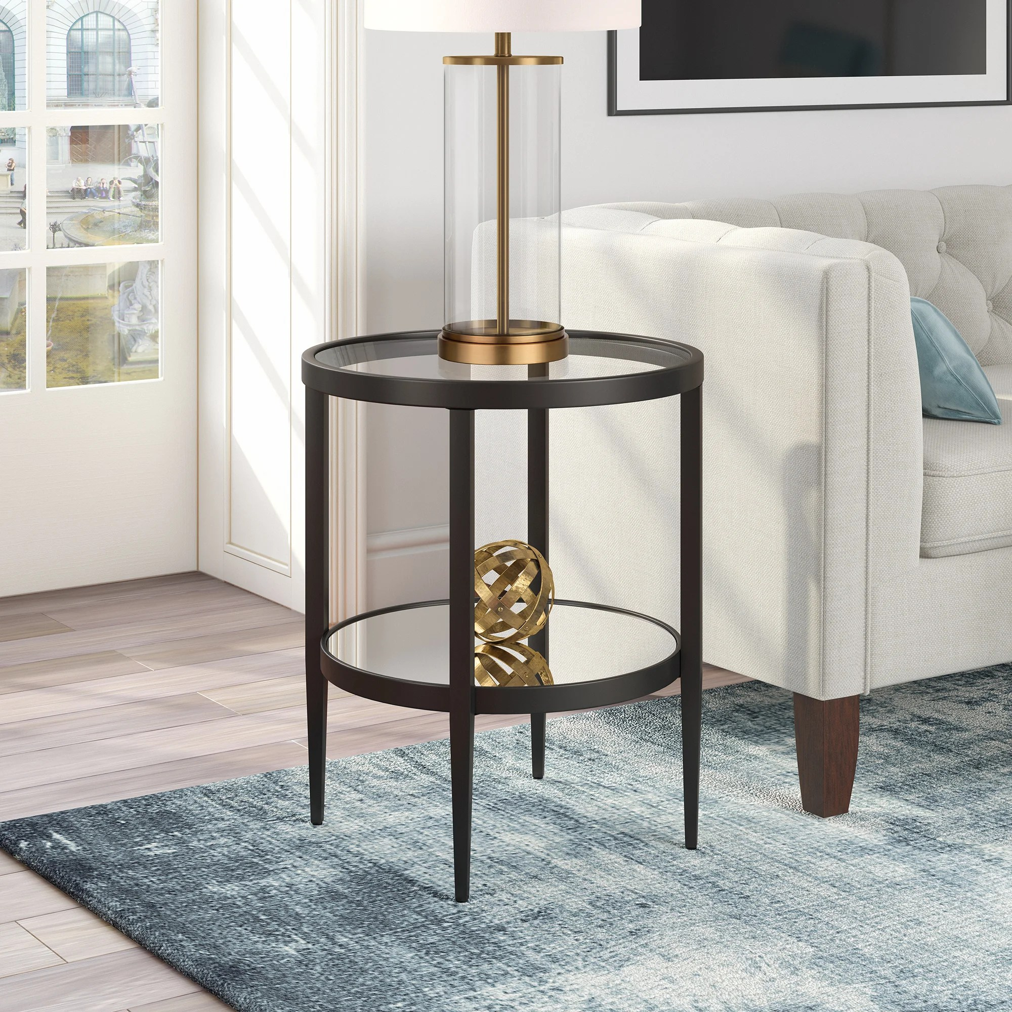 bronze glass end side tables you ll