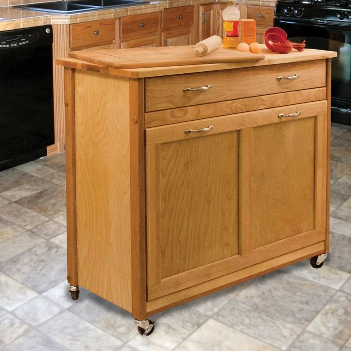 kitchen block slim cabinet millwood pines triche pull out trash island with butcher