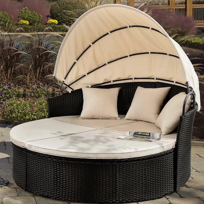 gatun 66 wide outdoor wicker patio daybed with cushions