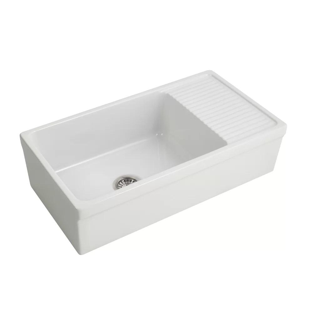 kitchen sinks with drain boards oversized island barclay inez 36 l x 20 w farmhouse sink drainboard fssdr1008 wh