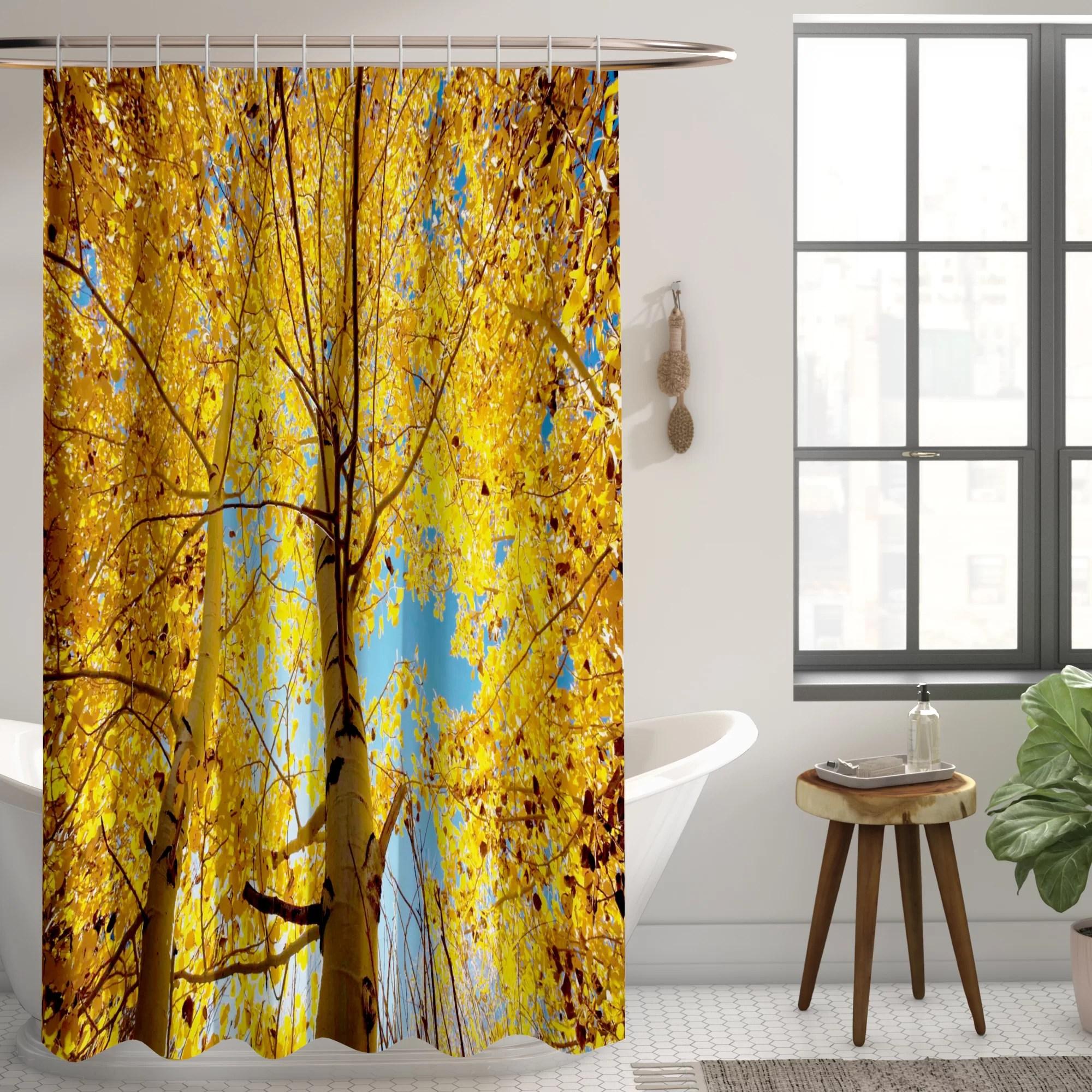 autumn shower curtain forest tree