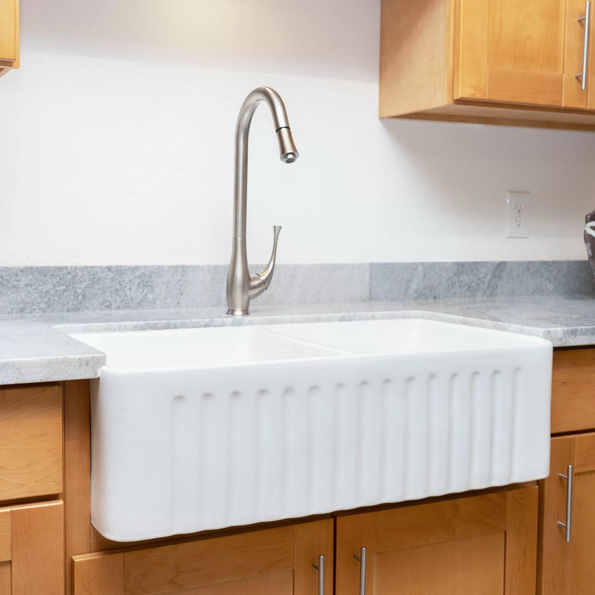 33 l x 18 w undermount double basin kitchen sink