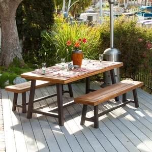 bartlesville rustic metal piece dining set