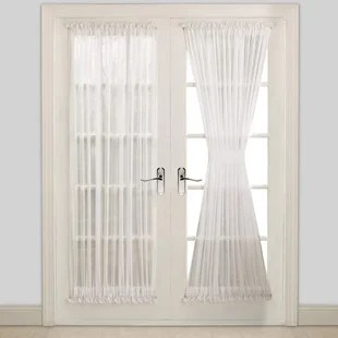 cardwell solid color sheer rod pocket curtain panels set of 2