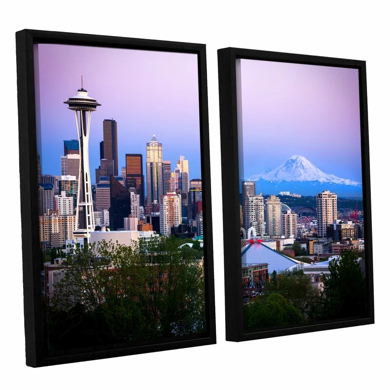 Seattle and Mt. Rainier 2 by Cody York 2 Piece Framed Photographic Print on Canvas Set Size: 24 H x 36 W x 2 D