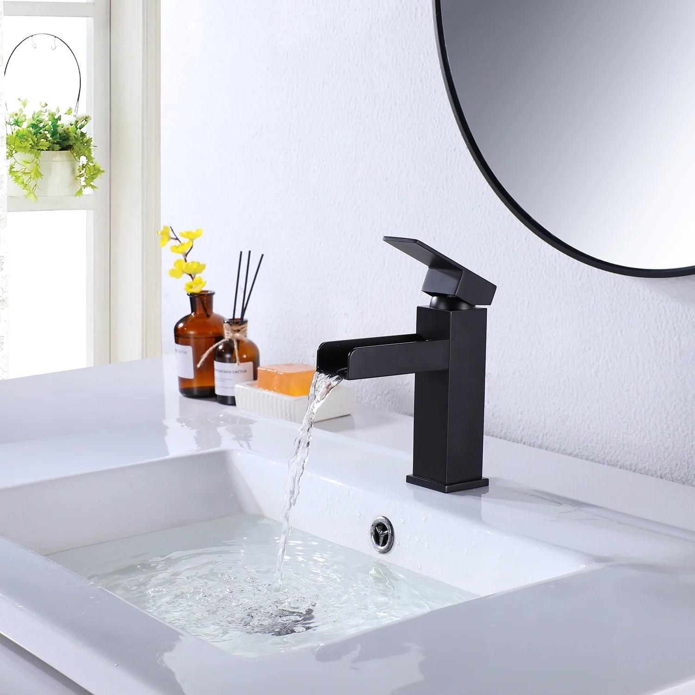 Modland Contemporary Matte Black Waterfall Bathroom Vanity Sink Faucet Bathroom Sink Faucet With Deck Plate Wayfair Ca