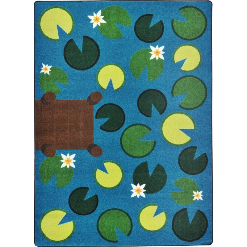 Hand-Tufled Green/Blue Area Rug Rug Size: 78 x 109