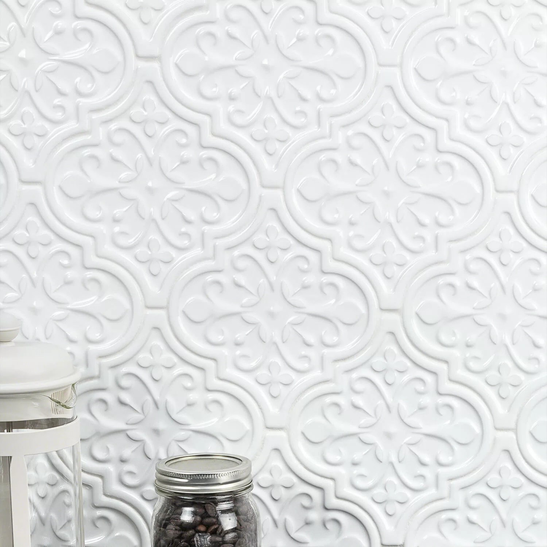 vintage florid lantern 6 x 7 ceramic field tile