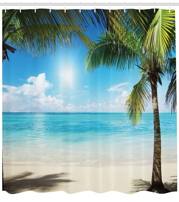 tropical beach shower curtain set hooks