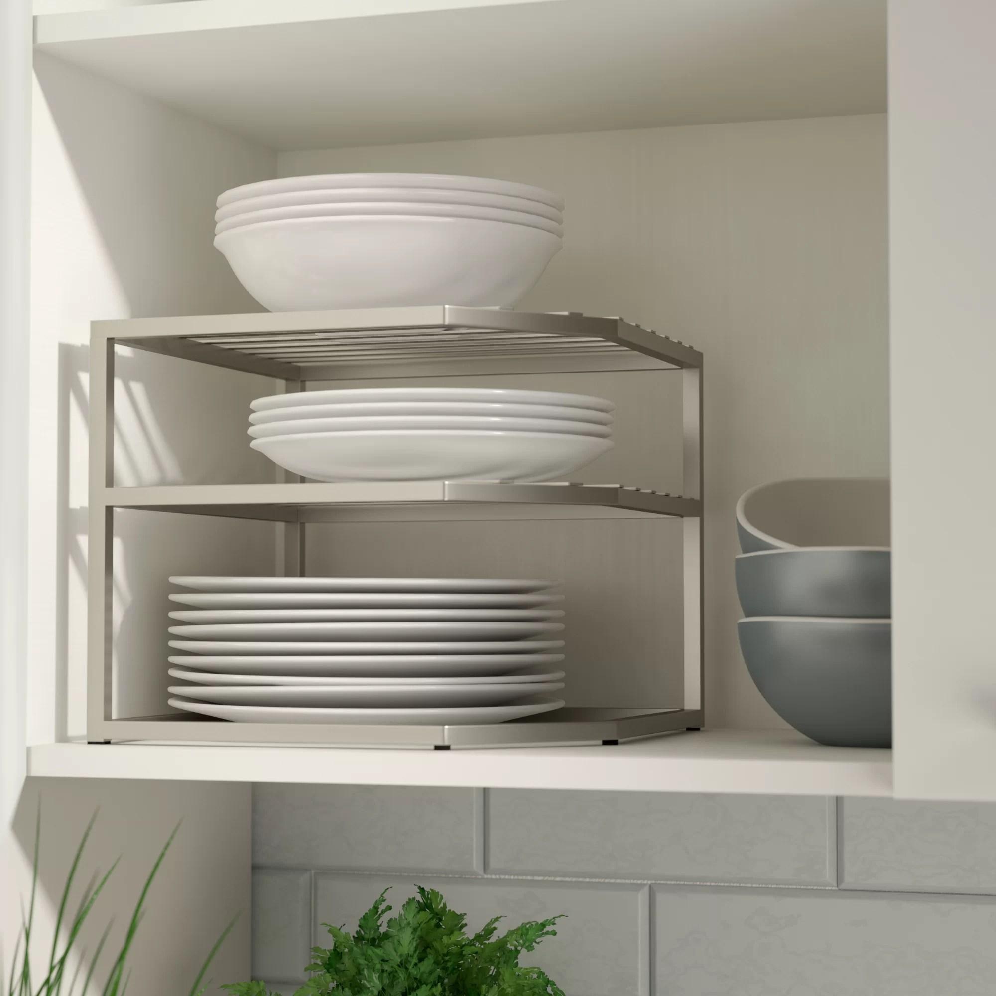 Rebrilliant Prevatte Corner Kitchen Cabinet Organizer Shelving Rack Reviews Wayfair